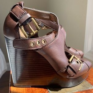 Coach chocolate brown leather wedges, size 5.5